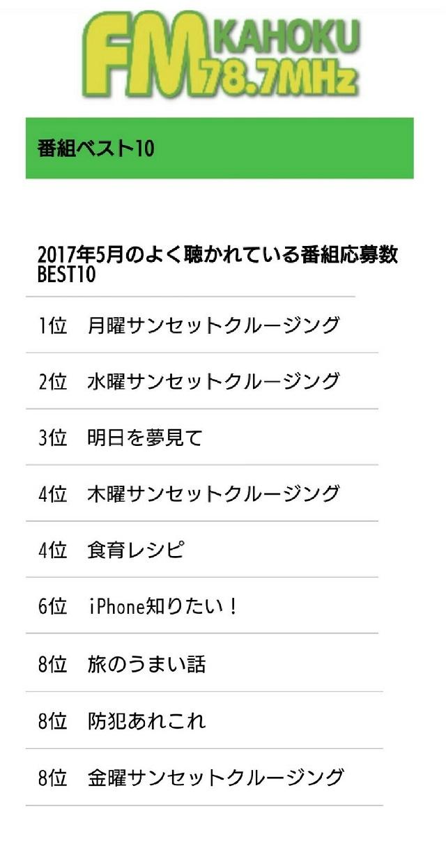 FMかほく 2017年5月 番組ベスト10