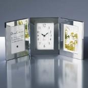 メタルトリプルフォトフレーム/時計付き写真立て