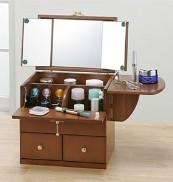 ハンディ三面鏡(ドレッサー/収納付き鏡台) 伸縮式テーブル/取っ手付き ホワイト(白) 【完成品】