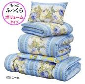 2枚合わせ羽根布団5点セット/寝具セット 【ボリュームタイプ/ブルー】 オールシーズン対応 毛布・枕付き