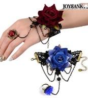 リアリスティックローズ ブレスレット 指輪付きブルー