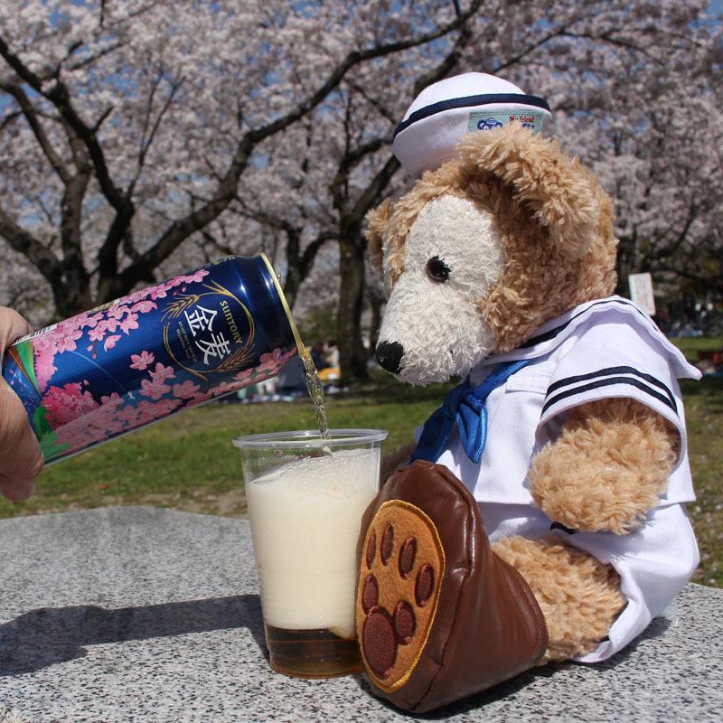 駿府城公園 桜の前でDuffyに金麦を 170413