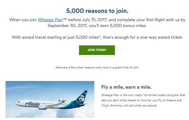 アラスカ航空は新規会員に最初のフライトで5,000マイルのボーナスマイルを提供