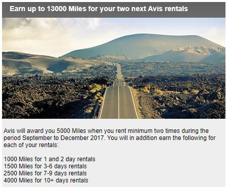 トルコ航空のマイル&スマイルで2回のAVISレンタカーで最低7,000マイル(最大13,000マイル)を獲得