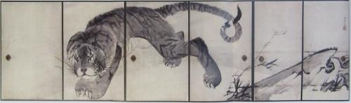 6枚の襖に描かれた虎図
