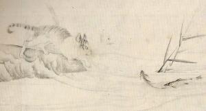 虎図の裏に描かれた魚を狙う猫