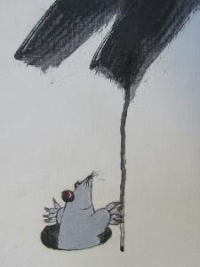馬妖怪の下部に描かれたモグラ
