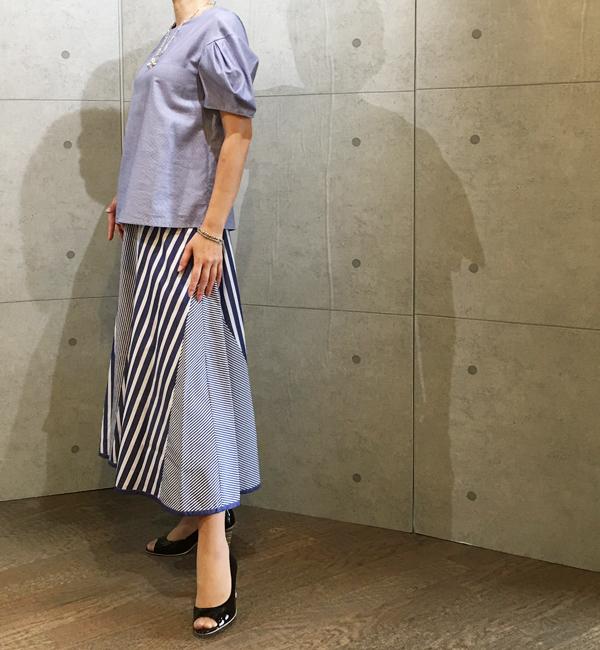 ココミュールのストライプのマキシ丈スカート