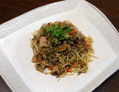 野菜たっぷり筍と挽き肉のスパゲッティ