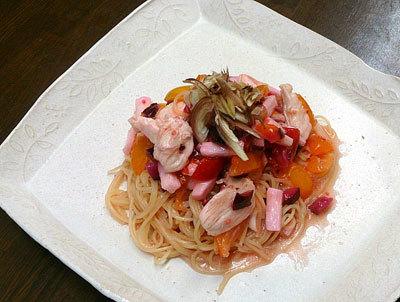 長芋とトマトの和風カッペリーニ