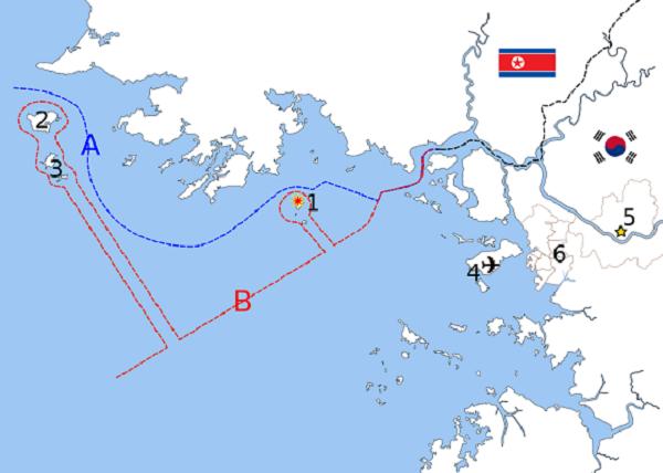 A:連合国設定の北方限界線(NLL) B:北朝鮮主張の軍事境界線
