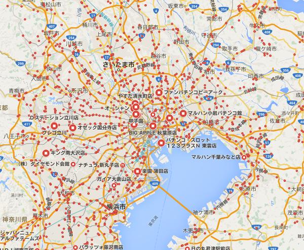 東京都を中心にグーグルマップでパチンコで検索してみました。