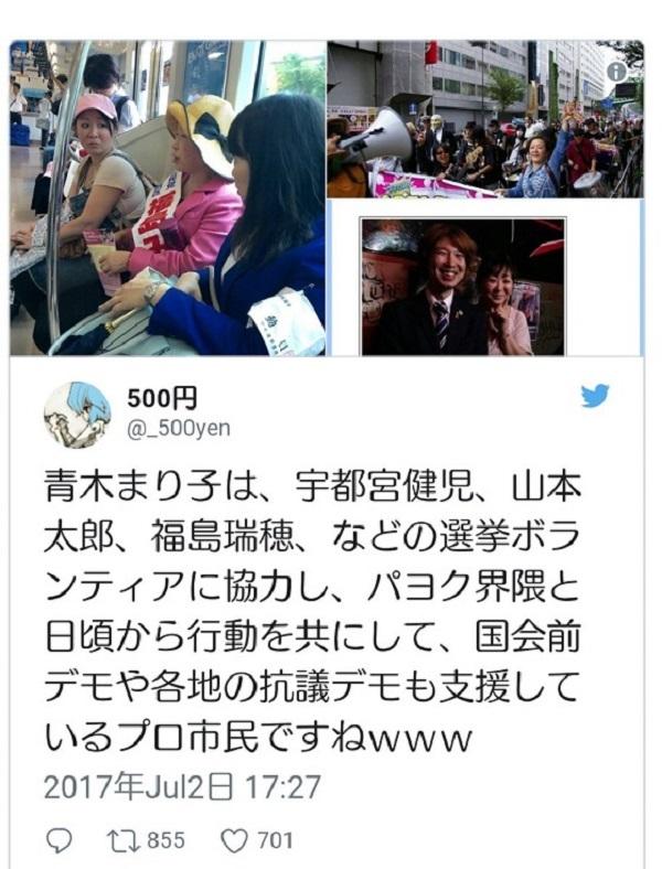ちなみに、青木まり子は、「中核派」が全面支援した山本太郎や三宅洋平の選挙ボランティアの他、福島瑞穂や宇都宮健児の選挙ボランティアも行っている。 - コピー