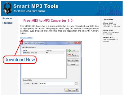 Free MIDI to MP3 Converter ダウンロードページ