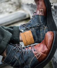 メンズ ブーツ レザー デニム バイカラー1