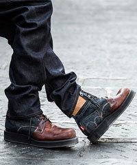 メンズ ブーツ レザー デニム バイカラー2