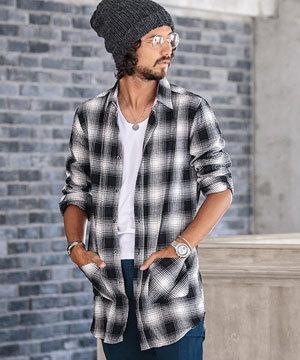 メンズ ロングシャツ 秋 2017