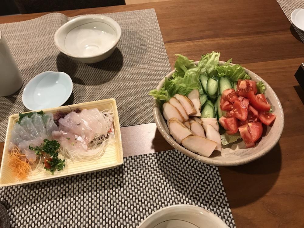 コチの刺身&鶏胸肉のスモーク