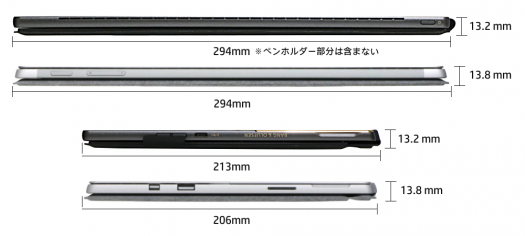 1000_Spectre x2_Surface Pro_サイズ比較_タブレット_キーボード