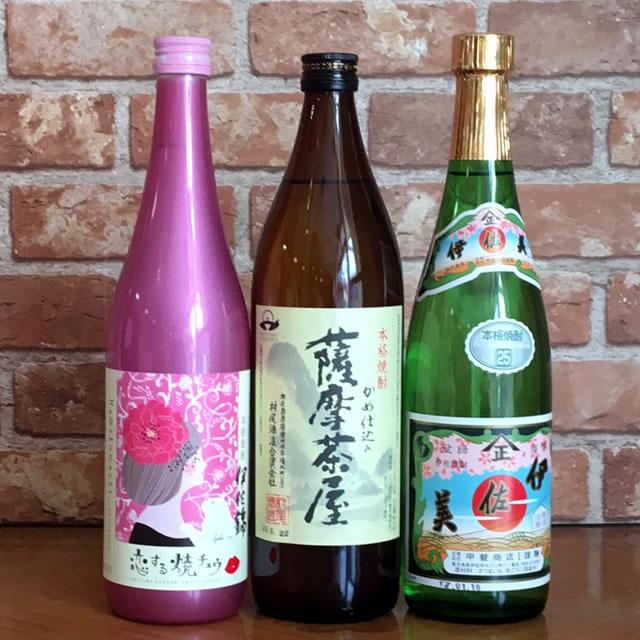 【恋する焼酎・薩摩茶屋・伊佐美 小瓶3本セット 3980円(税込)