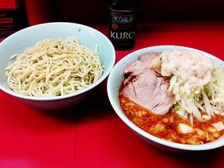 170813_中山駅前_小ラーメン_つけ麺_ヤサイニンニクアブラ