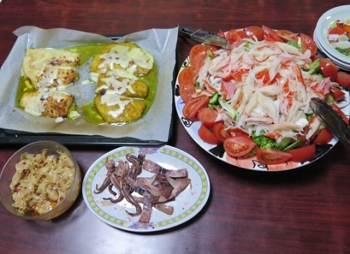 とろカレイのオーブン焼き、カニカマサラダ