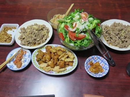 豚しょうが焼き、グリーンサラダ、明太子、チューハイ