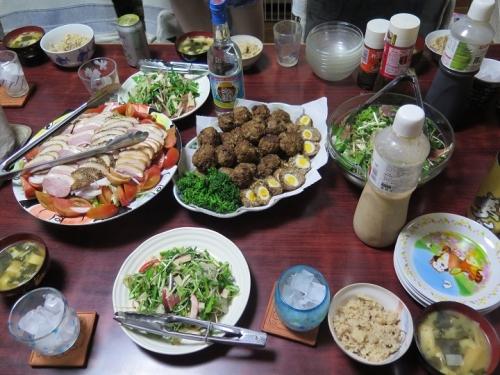 スコッチエッグ、合鴨燻製サラダ、お刺身の薬味サラダ、タケノコご飯
