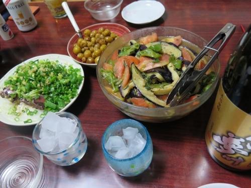 夏野菜の揚げびたし、子ジャガイモの揚げ煮、カツオの叩き