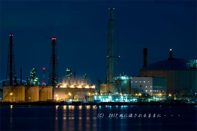 大阪・築港浜寺西町から見た堺泉北臨海工業地帯の工場夜景7