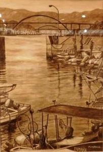 「橋の見える漁港」