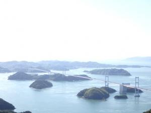 亀老山展望公園から来島海峡大橋の眺望