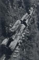 断崖絶壁の険俊な地形・軌道トロリー運材