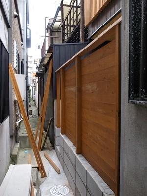 hiradainagaya裏路地の塀工事1705