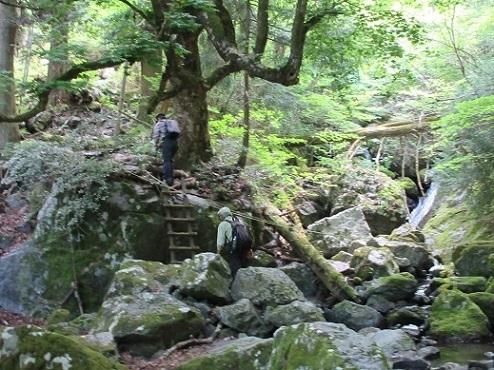 3 明神谷を登る