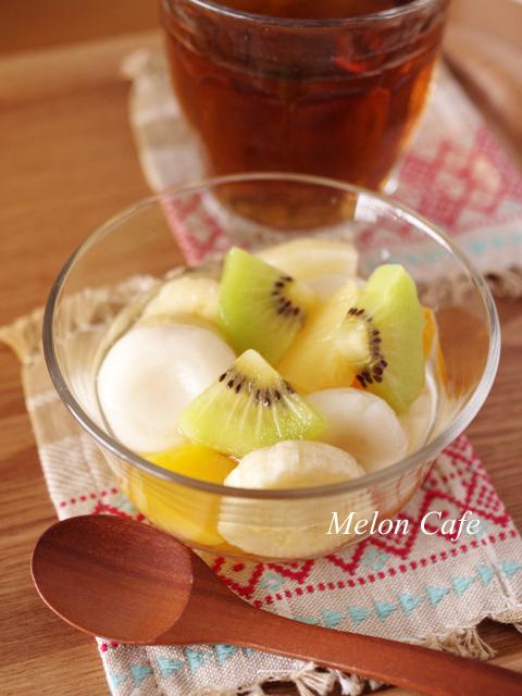 おとうふ白玉の冷やしフルーツ白玉