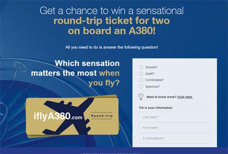 エアバスは、A380の航空券があたるキャンペーンを開催、お好きな運航会社の往復航空券です!
