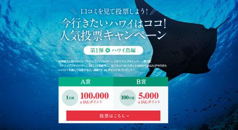 JALは、行きたいハワイの人気投票で、100,000e JALポイントをプレゼント!