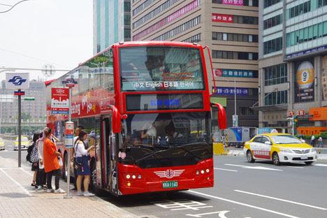 台北市2階建てオープントップバス「Hop-on, Hop-off」4時間無料チケット4