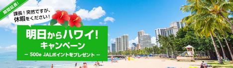 JALは、出発直前の特典航空券の予約がお得なキャンペーンを延長、コナ線も対象となりました!
