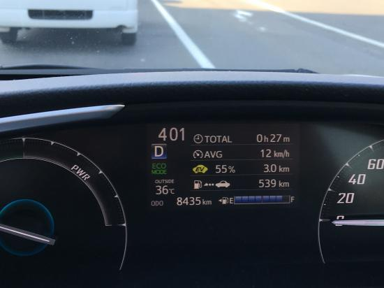 車の温度計36℃!