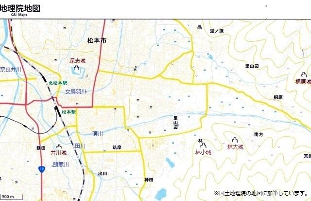 井川城とその周辺地図