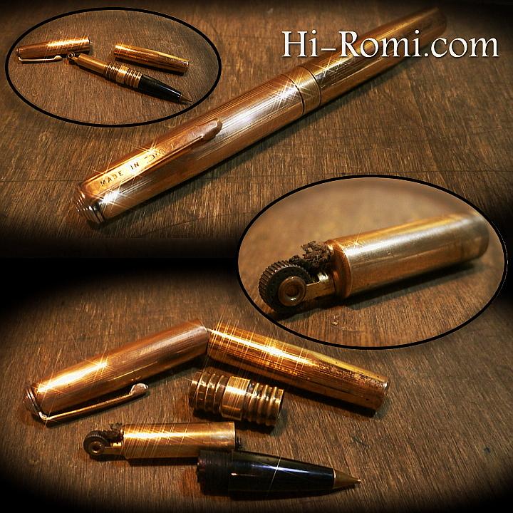 真鍮 無垢 鉛筆 シャーペン メカニカルペンシル ペンシル オイルライター ヴィンテージ アンティーク ハイロミ オリジナルデザイン 文具雑貨 照明 ライト ランプ 製作 Hi-Romi.com 神戸 20170603-2