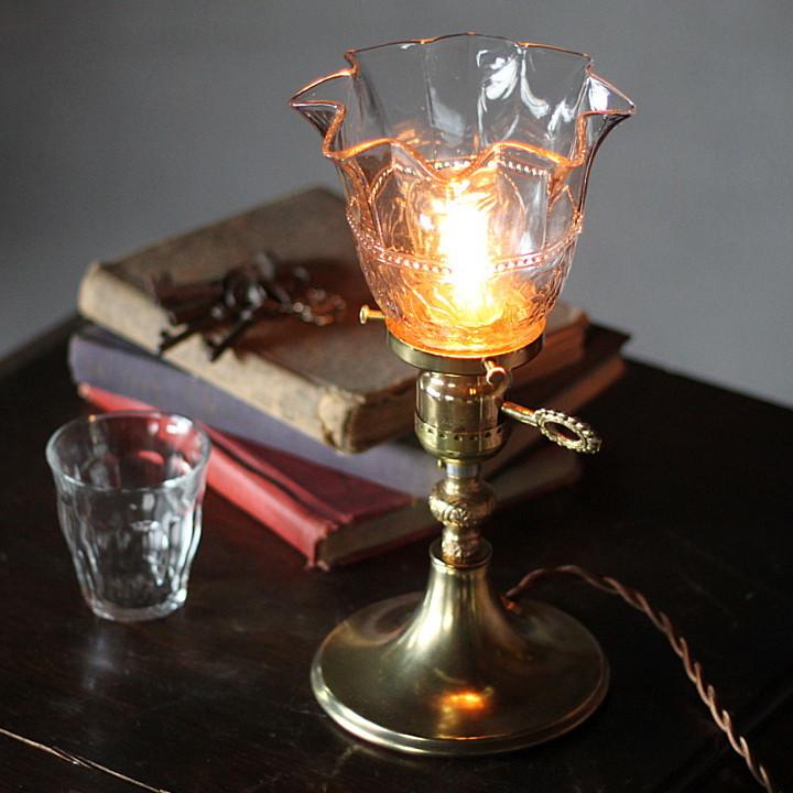 USAヴィンテージクリアガラスのフリルシェード付ミニテーブルライト