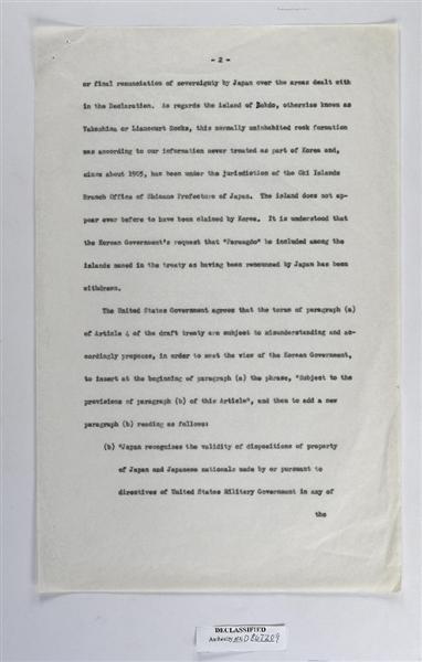 plt1705120043-p3_米国が韓国側に対し「朝鮮の一部として取り扱われたことはなく(中略)かつて朝鮮によって領有権の主張がなされたとは見られない」と伝えるラスク書簡