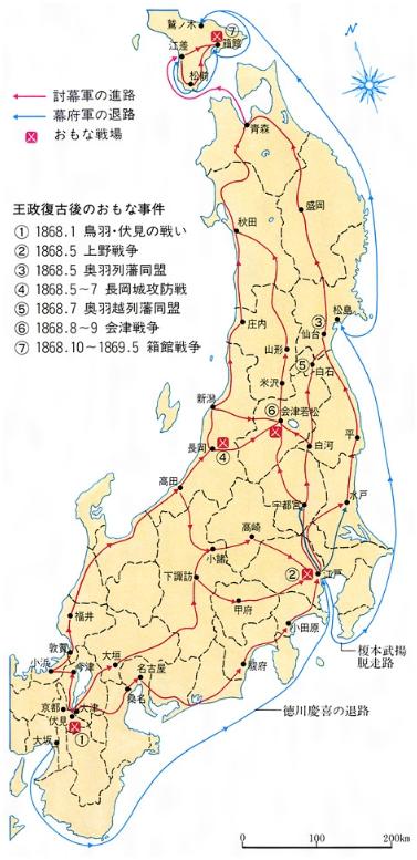 戊辰戦争関係略図