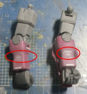 HGUCイフリートシュナイド腕部加工2