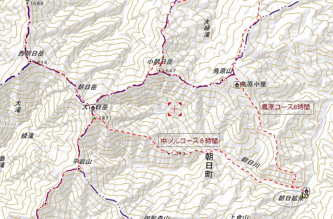 朝日岳コースマップ