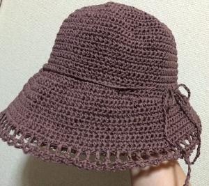 シャポットで編む前下がりブリムの帽子②