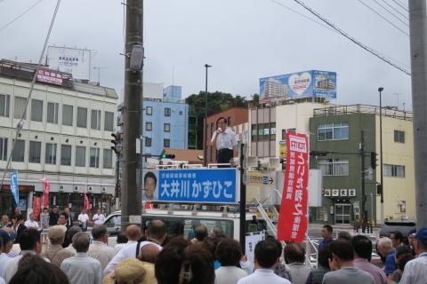 2「石岡駅前大井川かずひこ」街頭演説会⑪